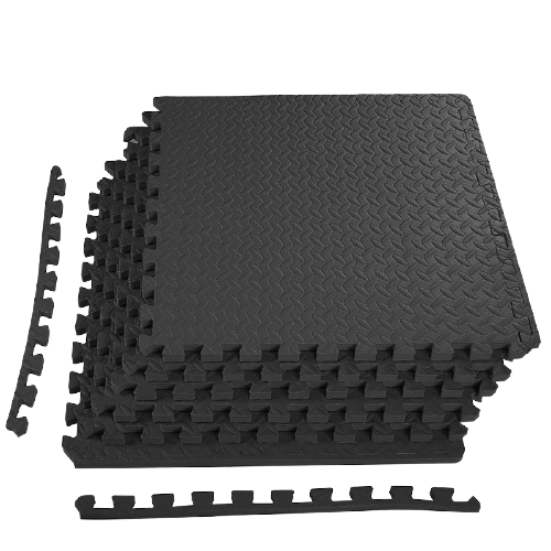 Black Exercise Interlocking Tiles Mat