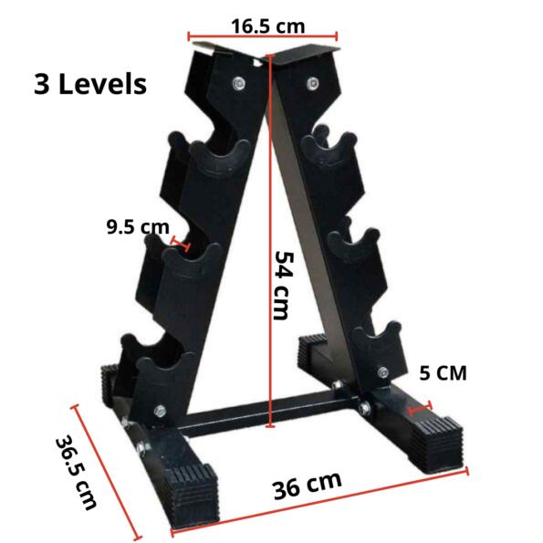 HAJEX A Shaped 3 Level Dumbbell Rack