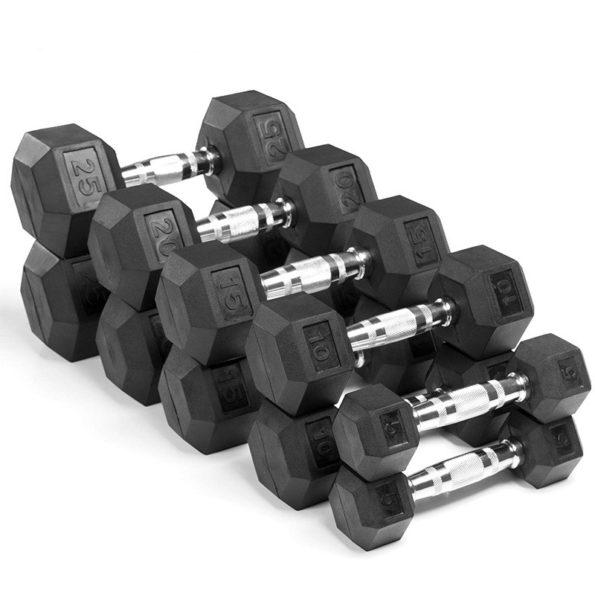 Hex-Chromed-Rubber-Dumbbells-Titan-Sports-LBS-Pound-Black
