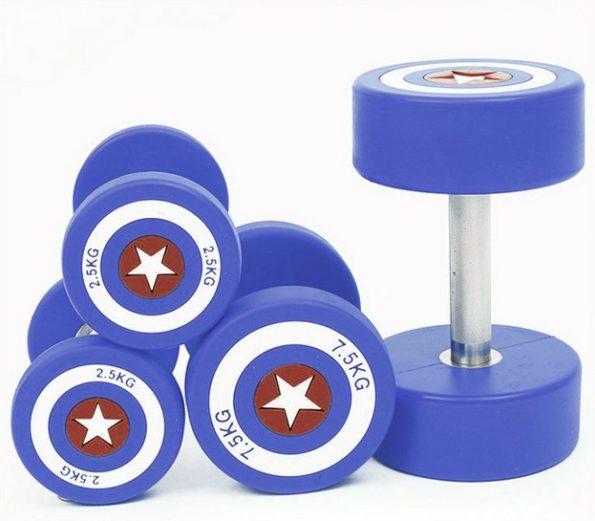 Blue Captain America Dumbbells