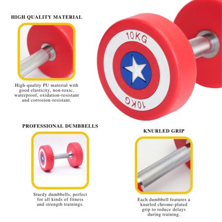 Details About Captain America Dumbbells