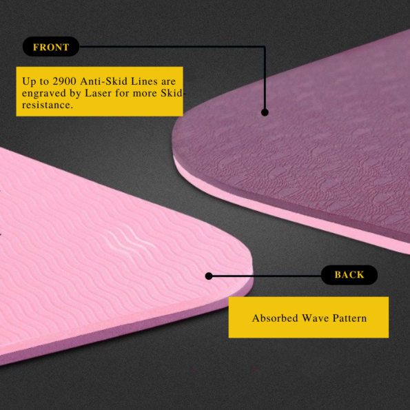 Front and Back of TPE Yoga Mat Design 6mm Double color