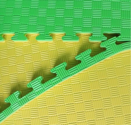 Double Layer Eva Sports Gym Mat green and yellow