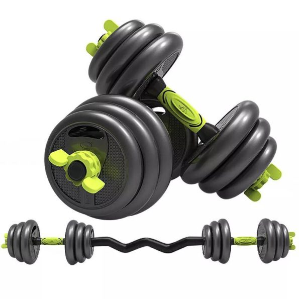 Yellow Adjustable Dumbbell Set with Curled Barbell