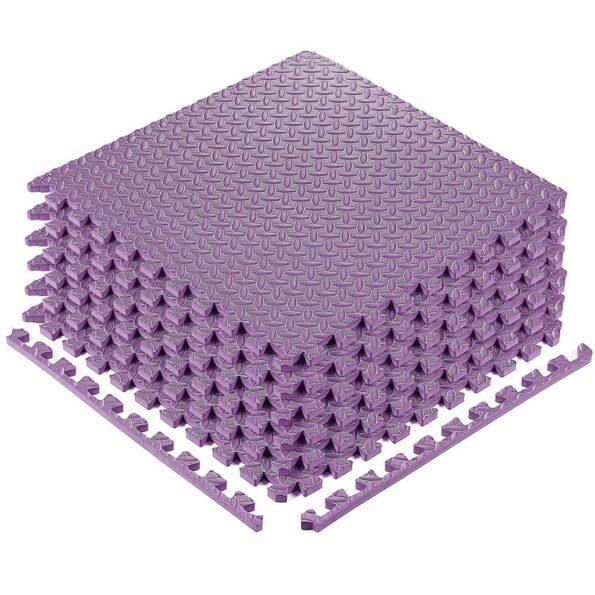 Exercise Interlocking Tiles Workout Purple Mat