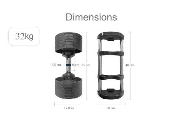 32kg hajex adjustable dumbbell dimensions