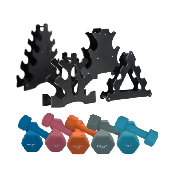 Colorful Dumbbells Set with Rack