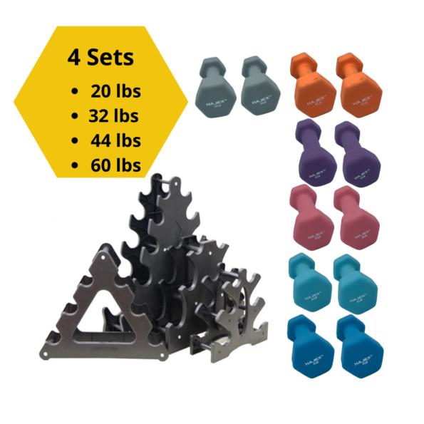 Colorful Neoprene Dumbbell Sets with Racks