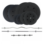 Plastic plates with barbell & dumbbell